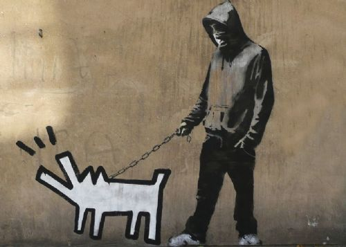 BANKSY - BARKING DOG WALL canvas print - self adhesive poster - photo print